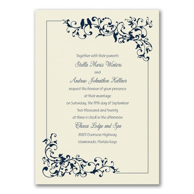 Little Love Birds - Invitation - Ecru