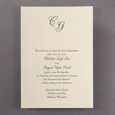 Simple Monogram - Invitation - Ecru