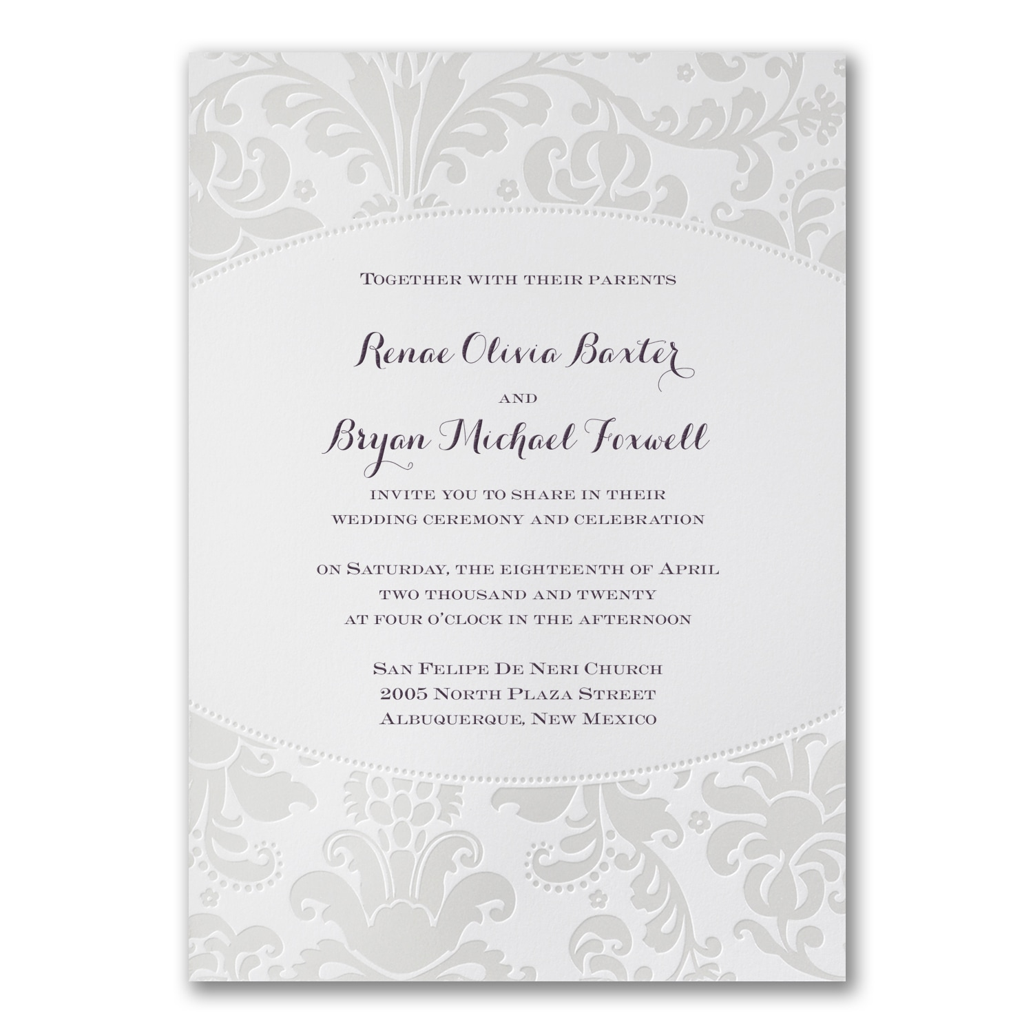 Pearlized Filigree Border Invitation Wedding Invitations