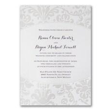 Pearlized Filigree Border - Wedding Invitation