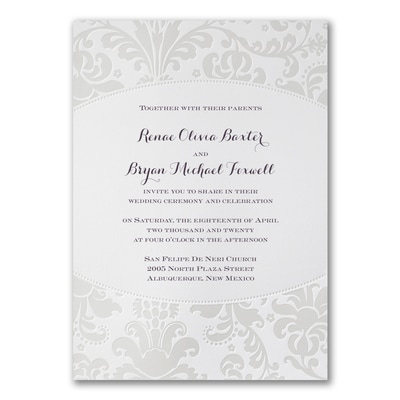 Pearlized Filigree Border - Invitation