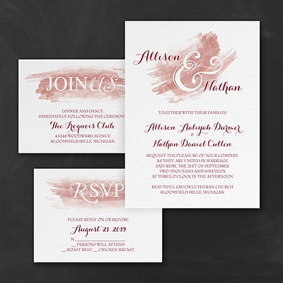 Watercolor Swish - Invitation Set - Claret