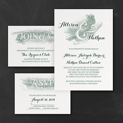 Watercolor Swish - Invitation Set - Hunter
