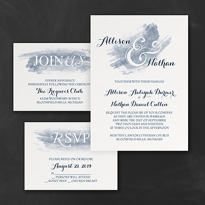 Watercolor Swish - Invitation Set - Navy