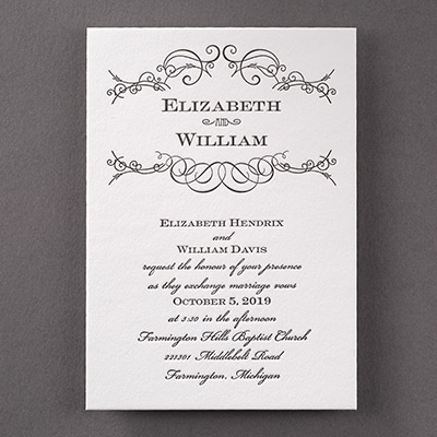 Letterpress Swirls - Invitation