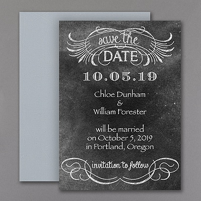 On the Chalkboard - Save the Date Magnet