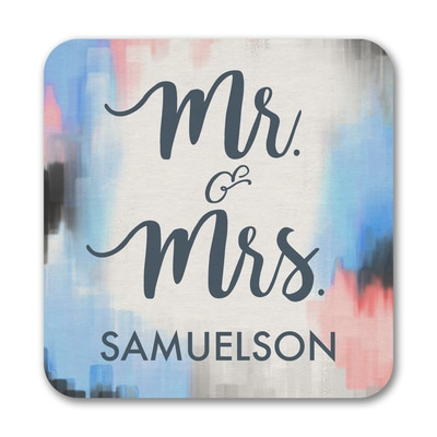 Watercolor Mr. and Mrs. - Coaster
