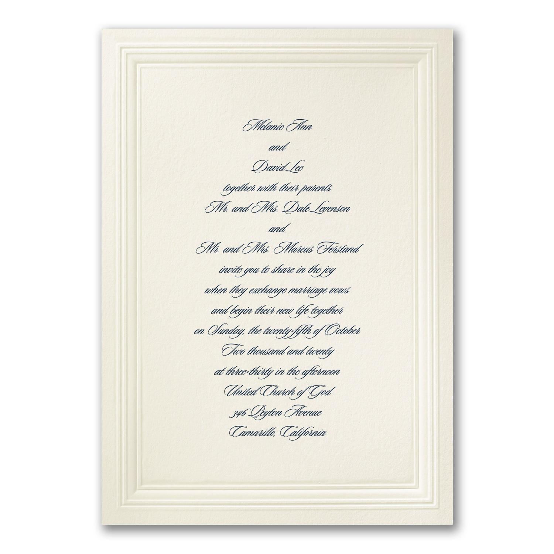 Ecru Embossed Triple Borders - Invitation > Wedding Invitations ...