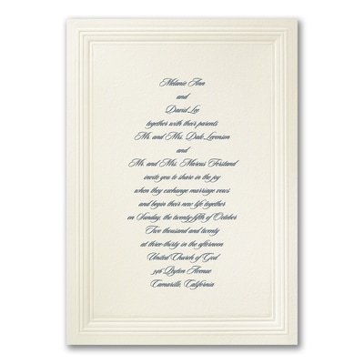 Ecru Embossed Triple Borders - Invitation