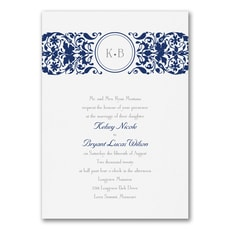 Filigree Splash - Monogram Invitation