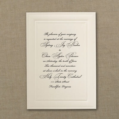Classic Ecru Engraved Invitation Wedding Invitations Carlson