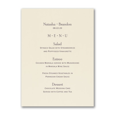 Simplicity Vertical Menu Card - Ecru