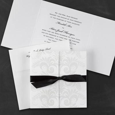 Pearlized Filigree and Leaves Invitation