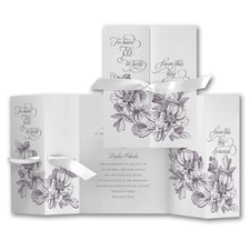 Vows and Flowers - ribbon invitation
