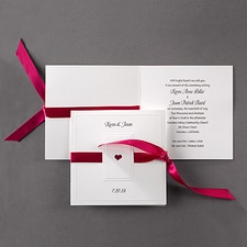 Paneled Heart  - ribbon invitation