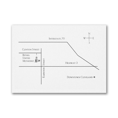 Horizontal Map or Direction Card - Bright White