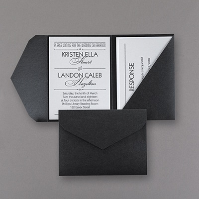 Treasured Love - Invitation with Black Pocket