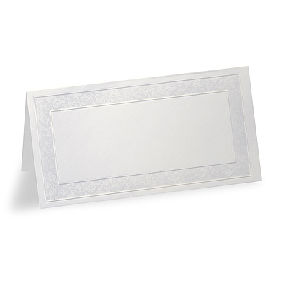 Pearl Floral Border - Blank Place Card