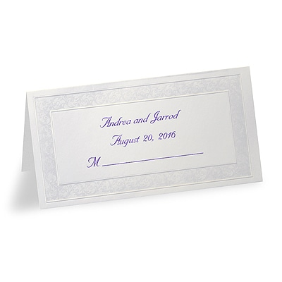 Pearl Floral Border - Printed Place Card