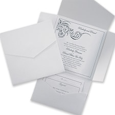 White Shimmer and White Pocket - Pocket Invitation