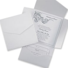White Shimmer and White Pocket - Wedding Invitation