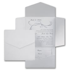 White and Shimmer Swirl Pocket - Wedding Invitation