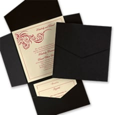 Black and Ecru Pocket - Wedding Invitation