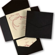 Black and Ecru Swirl Pocket - Wedding Invitation