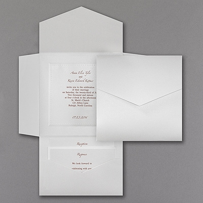 White Shimmer Pocket - Invitation