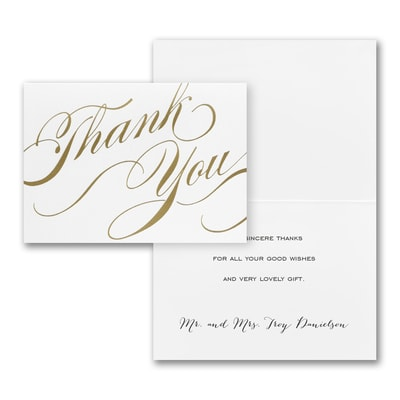 Gold Unending Gratitude - Thank You Note - Printed