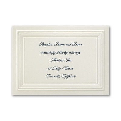 Ecru Embossed Borders - Reception Card
