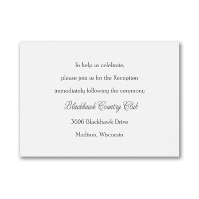 Personal Typography - Reception Card - White
