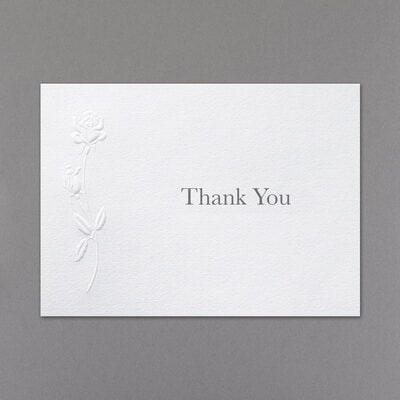 embossed rose thank you card and envelope carlson craft wedding