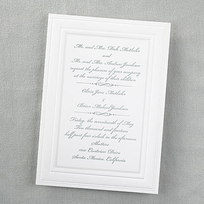 Elegant Borders   Invitation   White