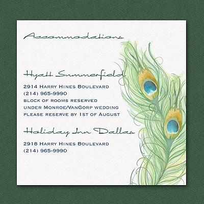 Peacock Charm - Accommodation Card
