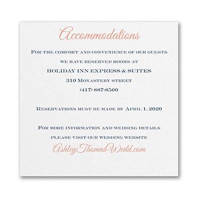 Timeless Elegance - Accommodation Card