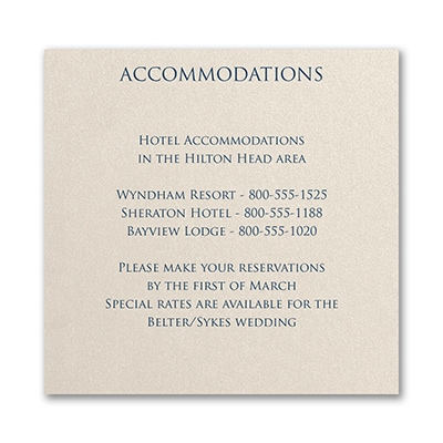 Classico - Accommodation Card