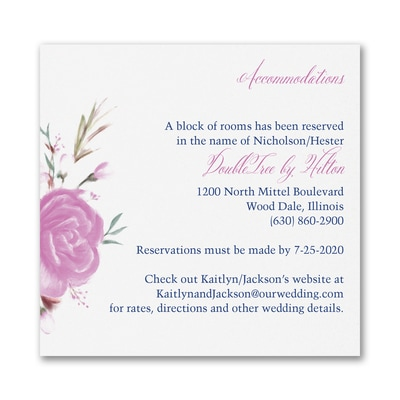 Enchanted Garden - Floral - Accommodation Card