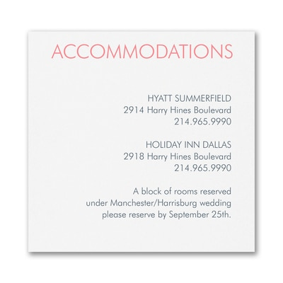 Love's Devotion - Accommodation Card