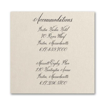 Sophisticated Type - Accommodation Card