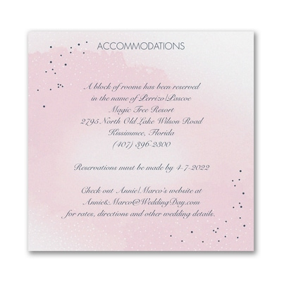 Champagne Wedding - Accommodation Card