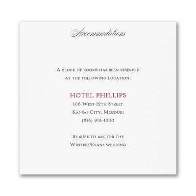Only Us - Accommodation Card