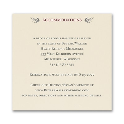 Greenery Crest - Accommodation Card