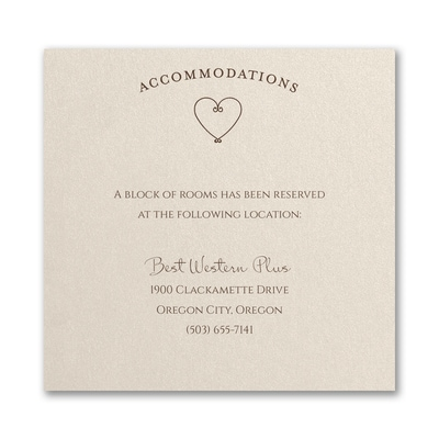 Becoming One - Accommodation Card