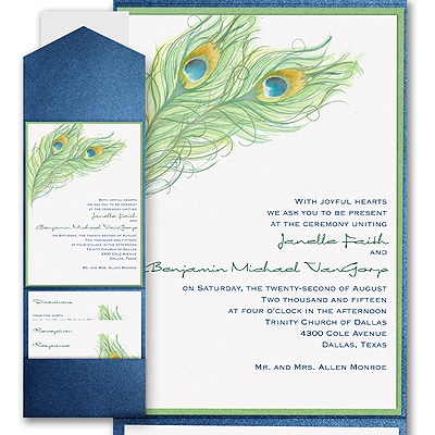 Peacock Charm - Layered Pocket Invitation