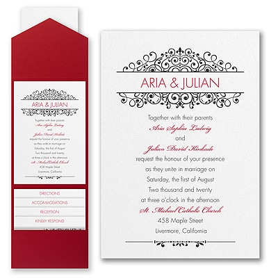 Antique Sophistication - Invitation with Pocket