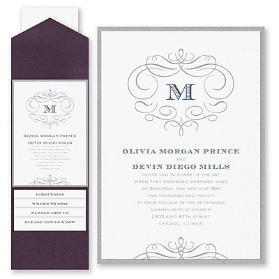 Passionate Monogram - Invitation with Pocket and Backer