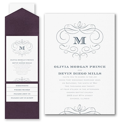 Passionate Monogram - Invitation with Pocket