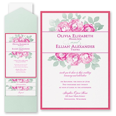 lovely roses invitation with pocket and backer wedding