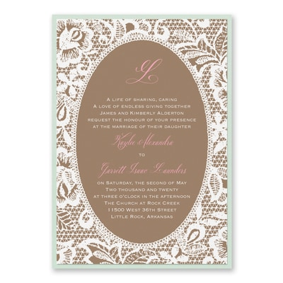 Traditional Lace - Invitation with Backer